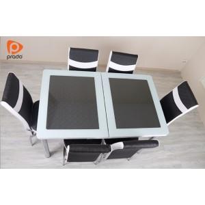 Trpezarijski stol i stolice, crno-bijeli (razvlačenje)