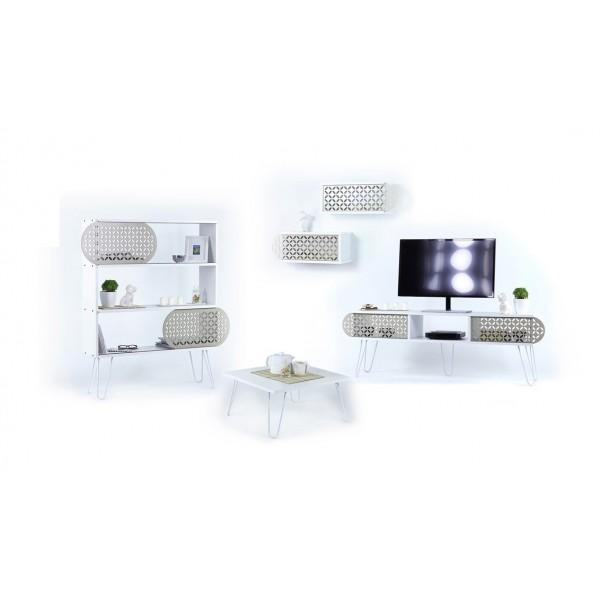 Set Illia bijela (TV komoda, polica, klub sto, set zidnih polica)