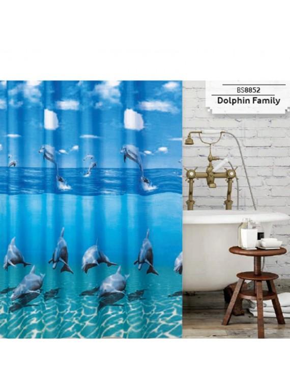 Zavjesa, paravan za kupatilo Dolphin Family 180x200