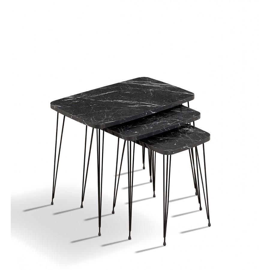 Set klub stolova Fan 1040 crni mermer