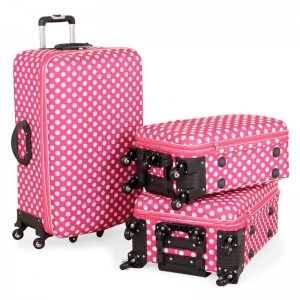 Putni kofer Malp Puantiyeli Kabartmasa 6 točkića, set (roza)