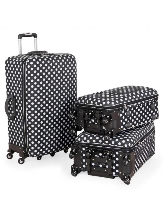 Putni kofer Malp Puantıyelı Kabartma sa 6 točkića, set (crna)