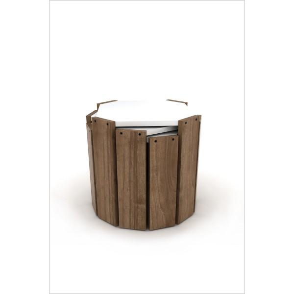 Set klub stolova Hansel (orah-bijela)