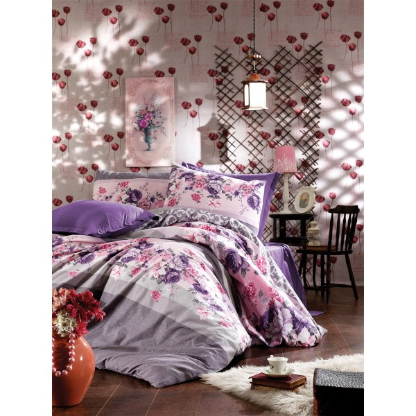 Pamučna posteljina Rima lilac 160x220
