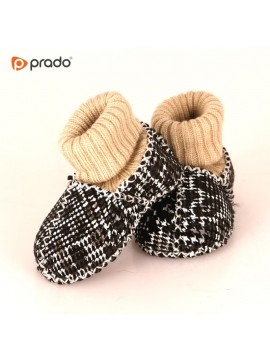 Kućne patike za bebe od janjeće kože (crno bijela)