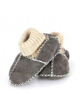 Kućne patike za bebe od janjeće kože ( siva)
