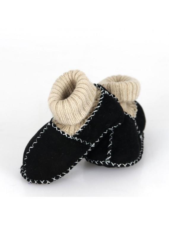 Kućne patike za bebe od janjeće kože (crna)