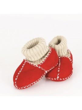 Kućne patike za bebe od janjeće kože (crvena)