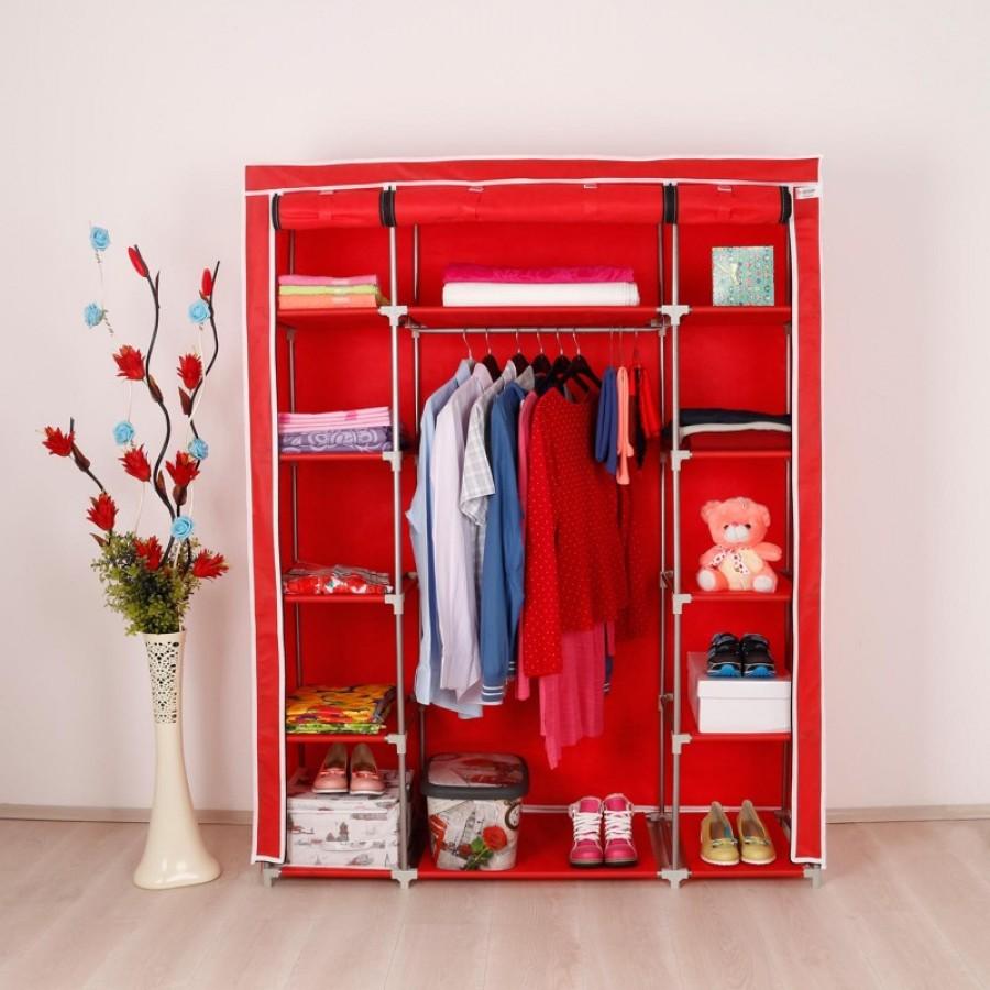 Platneni ormar za odjeću sa policama sa strana Stark crvena