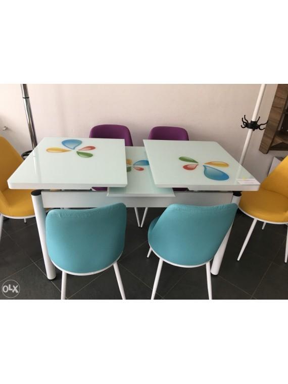 Prado Trpezarijski stol i stolice, bijeli (razvlačenje)