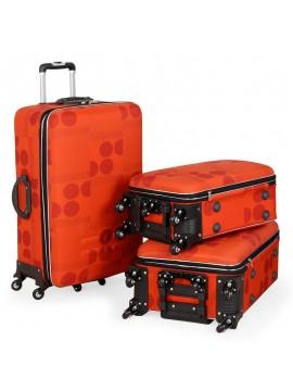 Putni kofer Malp kabartma sa 6 točkića, set narandžasta