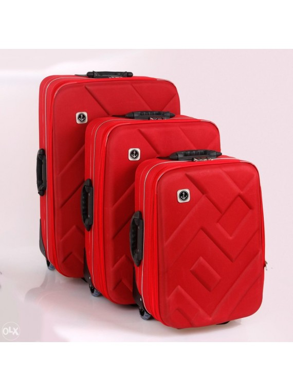 Putni kofer Malp Kabartma  platno sa 2 točkića, set (crvena)