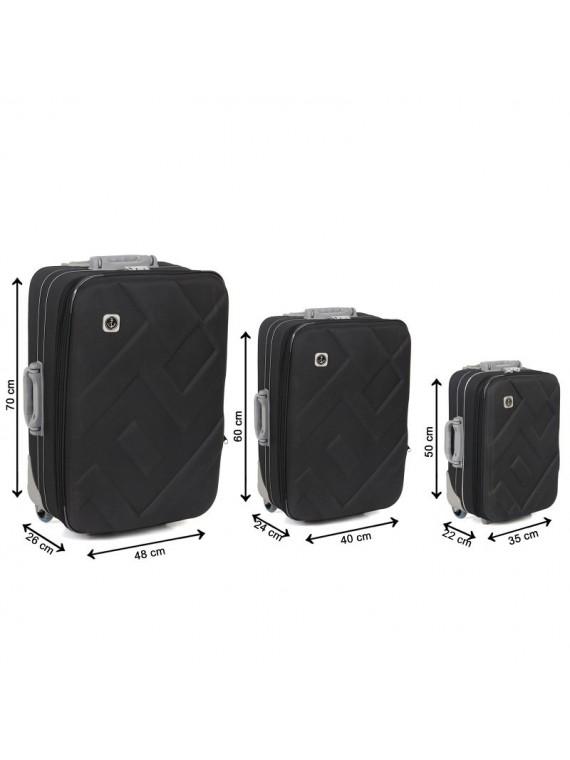 Putni kofer Malp Kabartma platno sa 2 točkića, set (crna)