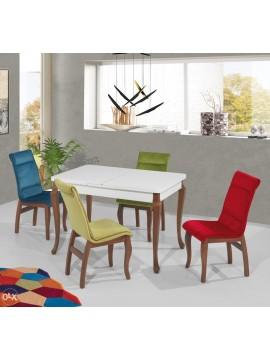 Trpezarijski stol Kapadokya bijeli-boja oraha (na razvlačenje)
