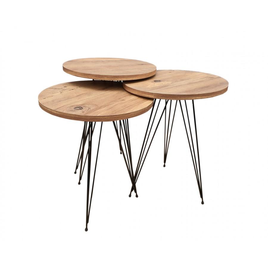 Set klub stolova Mermer orah